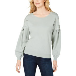 Mint Green Pearl Embellished Pullover Sweater